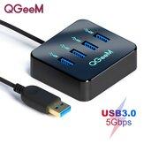 Adaptador de docking station QGeeM USB Hub com transmissão de dados 4 * USB 3.0 5 Gbps para laptop