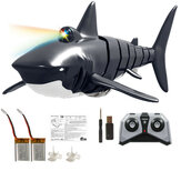 Eachine EBT01 Remote Control Shark Toy Pool Toy with LED Light and Several Batteries 2.4G 4CH Electric High Simulation Shark Bath Toy Waterproof RC Boat Great Gift for 3-10 Year Old Boys and Girls