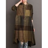 Women Plaid Turn-down Collar Long Sleeve High Low Hem Shirt Dress