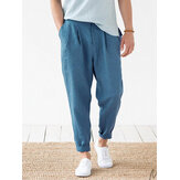 Mens 100% Cotton Solid Color Casual Zipper Fly Pants With Pocket