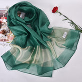 Women Soft Silk Satin Scarves Solid Color Long Sunscreen Beach Towel Shawl