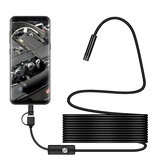 Bakeey 3 v 1 7mm 6Led Type C Micro USB Borescope Inspection Camera Soft kabel pro Android PC
