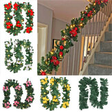 2.7 متر إكليل شجرة عيد الميلاد الباب شنقا إكليل نافذة زخرفة عيد الميلاد حزب ديكور زينة عيد الميلاد التخليص أضواء عيد الميلاد