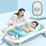 Beizhi Foldable Baby Bathtub with Electronic Temperature Universal Bath Barrel Large Size for Children