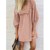 Women Solid Color Puff Sleeve V-Neck Cotton Dresses
