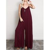 Mujer Pantalones anchos con tirantes finos y pierna ancha Mono