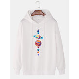 Heren multi-planeet print lange mouwen drop shoulder trekkoord hoodies