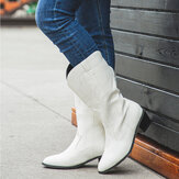 Women Leather Embroidery Pattern Pointy Toe Chunky Heel Trendy Knight Cowboy Boots