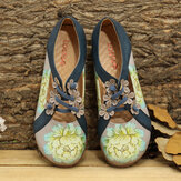 LOSTISY Blumenmuster Elastic Band Round Toe Splicing Retro Casual Flats
