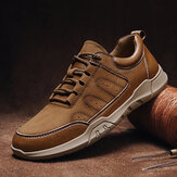Men Leather Splicing Non Slip Comfy Soft Sole Wearable Casual Shoes
