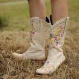 Talon épais brodé de fleurs de femmes de grande taille sans lacet sur des bottes de cowboy