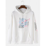 Mens Cherry Blossoms Text Print Japanese Style Muff Pocket Drawstring Hoodies
