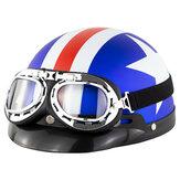 Casque de moto ouvert universel ABS rétro vintage avec lunettes de protection du cou