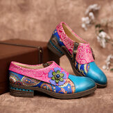 SOCOFY Retro Leather Paisley Splicing Floral Embossed Comfy Genuine Leather Flat Shoes