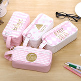 Canvas Pencil Case Large Capacity Pink Girl Pen Box Stationery Pouch Makeup Cosmetic Bag For School Office Supplies