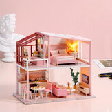 CUTE ROOM Warming Life Theme of DIY Assembled Doll House With Cover for Children Toys