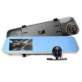 4.3 Inch HD 1080P Car DVR Mirror Camera Vista traseira Dual Lens Night Vision Loop Video
