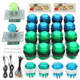 DIY Joystick Arcade Kits 20 LED Arcade Buttons + 2 Joysticks + 2 USB Encoder Kit + Cables Arcade Game Parts Set