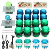 DIY Joystick Arcade Kit 20 Tombol Arcade LED + 2 Joystick + 2 USB Encoder Kit + Kabel Arcade Game Bagian Set