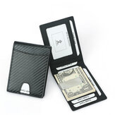 DKER TQ-306 Carbon Fiber Card Bag Leather Mini 8 Slots Credit Card Case Organizer Compact Wallet with Banknote Clip