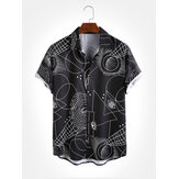 Mens Geometric Pattern Print Turn Down Collar Short Sleeve Shirts