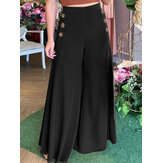 Женские однотонные боковые пуговицы с эластичной талией, свободные, повседневные, широкие, Брюки, с карманом
