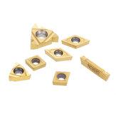 Inserciones de carburo de 7 piezas para torneado de barras de mandrinar de torno de vástago de 12 mm Soporte herramienta CCMT060204 Insertos de carburo 11IR 16ER