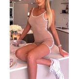 Women Sleeveless Sports Tight Sling Jumpsuit