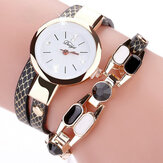 DUOYA DY106 Fashionable Wanita Gelang Watch Vintage Leather Strap Quartz Perhiasan