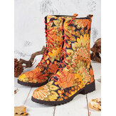 Embroidered Sunflowers Printing Block Heel Round Toe Lace-up Mid-calf Combat Boots for Women