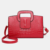Women Retro PU Leather Handbag Hand Crocodile Pattern Bag
