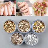 Emas Nail Art Glitter Debu Powder Silver Sequin Sheets Tips Manicure 3D Dekorasi Set