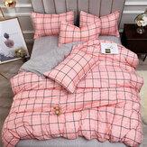 4PCS Conjuntos de ropa de cama de algodón lavado con colcha de edredón a rayas a cuadros impresos reactivos para el hogar