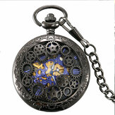 Deffrun Retro Style Black Pocket Watch Mechanical Watch