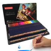 NYONI N-2872 72-color Watercolor Paint Pencil Iron Box Packaging Set For Children Practice