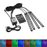 4 Pcs 9LED Luzes de Tira Do Assoalho Do Carro RGB Interior Atmosfera USB Charger Decor Lamp