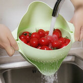 Kitchen Double Drain Basket 360° Rotation Fruit Vegetable Bowl Noodles Rice Washing Strainer Home Pool Drainer Organizer