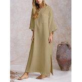 فستان نسائي فضفاض طويل بجناح الخفاش فستان طويل بحاشية منقسمة فستان قفطان