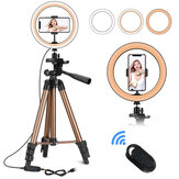 Controllable 6 inch 10 inch LED Selfie Ring Light + Tripod Stand + Phone Holder Photography YouTube Video Makeup Live Stream with Remote Shutter for iPhone Android Smart Phones