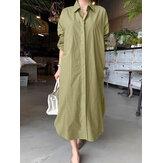 Женщины Короткие Стиль Сплошной Цвет Отложной Воротник С Длинным Рукавом Повседневная Рубашка Платье
