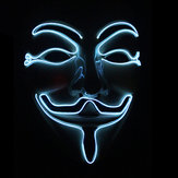 Halloween V-Vendetta Mask LED Luminous Flashing Maska Party Maski Light Up Dance Halloween Cosplay
