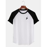 メンズカジュアルライトニングプリントラグランスリーブTシャツ