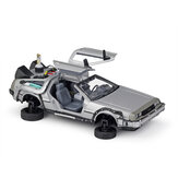 Welly 1:24 Diecast Alloy Model Car Door Openable DMC-12 Delorean Back to the Future Time Machines Metal Toy Car for Kid Gift Collection