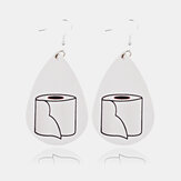 Trendy Leather Mask Water Drop Earrings Geometric Stereoscopic Toilet Paper Roll Earrings