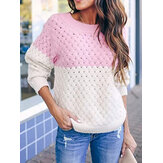 Frauen Colorblock Stricken Hollow Out Casual Langarmpullover