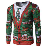 Personalidad Christmas Fake Two T-shirts Casual para hombre Cuello Long Sleeves Tops Camisetas