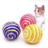 Animaux Chats Chiens Jouet Sisal Ball Chaton Teaser Jouer Mâcher Scratch Pet Jouets Diamètre 5 cm Couleur Aléatoire
