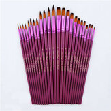12pcs Painting Brush Set Flat Tip Round Tip Nylon Hair Watercolor Oil Drawing Brushes Artist Students Supplies
