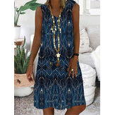 Women Print Sleeveless V-neck Vintage Casual Dress