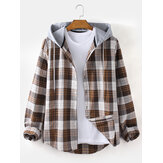 Mens Plaid Button Up Relaxed Fit Long Sleeve Drawstring Hooded Jacket